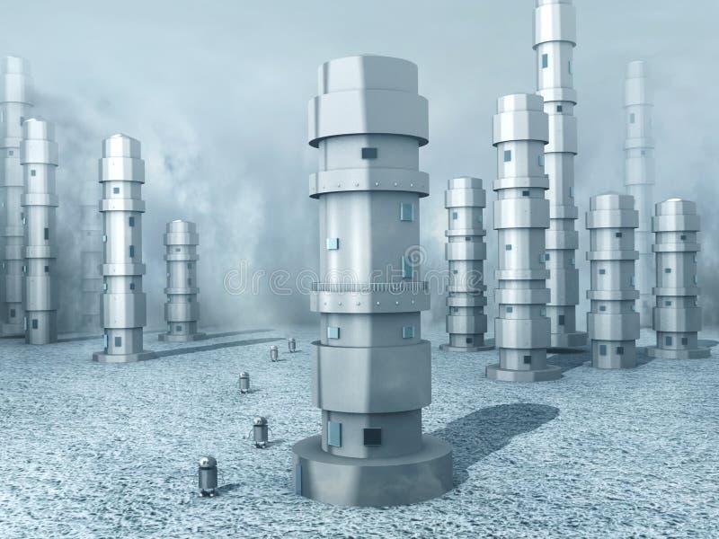 Terra congelada do robô ilustração do vetor