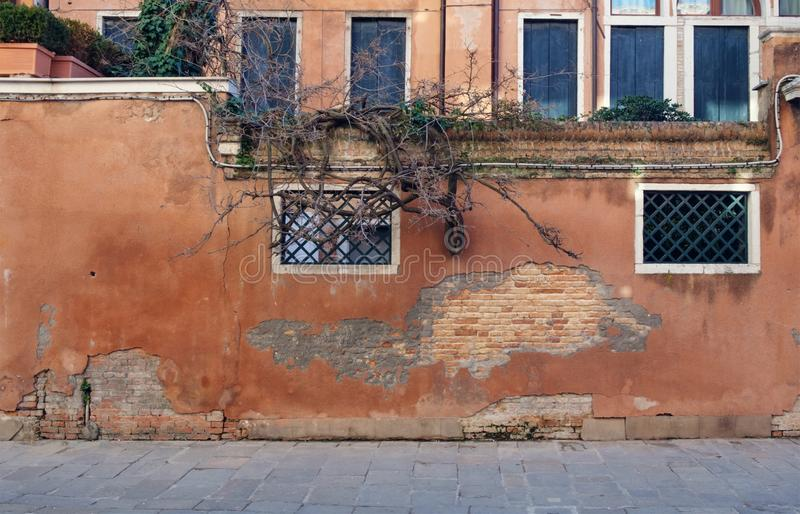 Terra cotta color old wall. With gated windows royalty free stock image