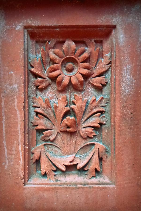 Terra Cotta Floral Architectural Detail foto de stock royalty free