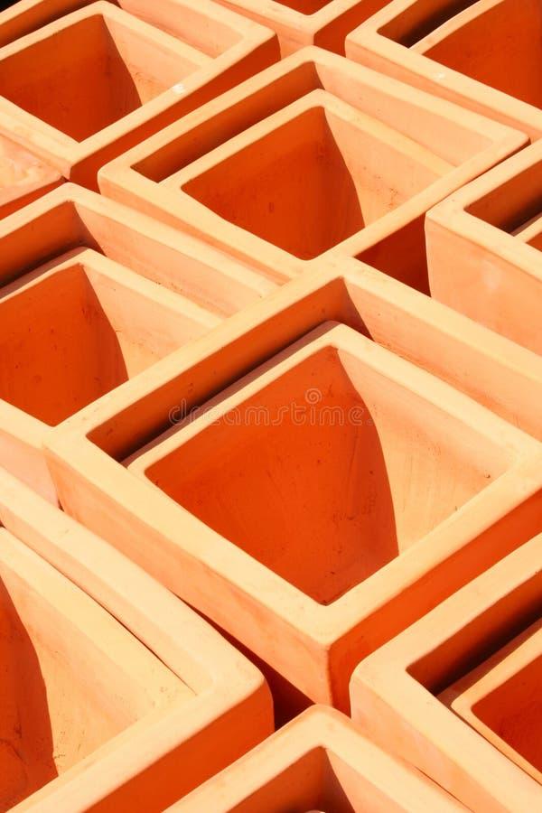 Terra Cotta Pots quadrada fotografia de stock royalty free