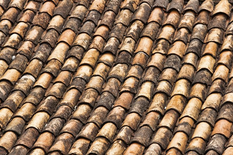 Terra Cotta Shingles covering a roof in Brazil. Pattern of Terra Cotta Shingles covering a roof in Brazil royalty free stock image