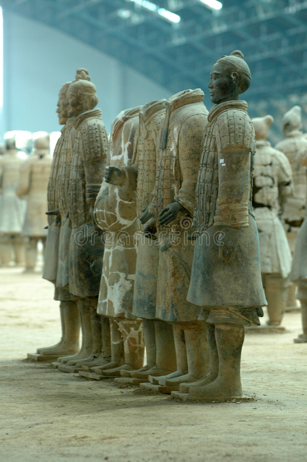 Terra Cotta Warriors lined up at the Excavation Site in Xian royalty free stock image