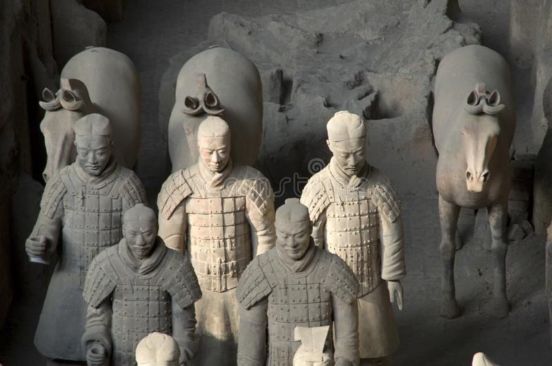 Terra Cotta Warriors, Xi`an, China. Terra Cotta Warriors Museum is the tomb site of the first emperor of China stock photo