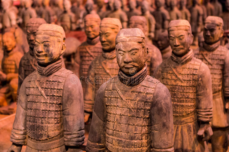 Terra Cotta Warriors. In a row royalty free stock image