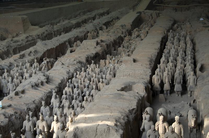 Terra Cotta Warriors, Xi`an, China. Terra Cotta Warriors Museum is the tomb site of the first emperor of China stock photos