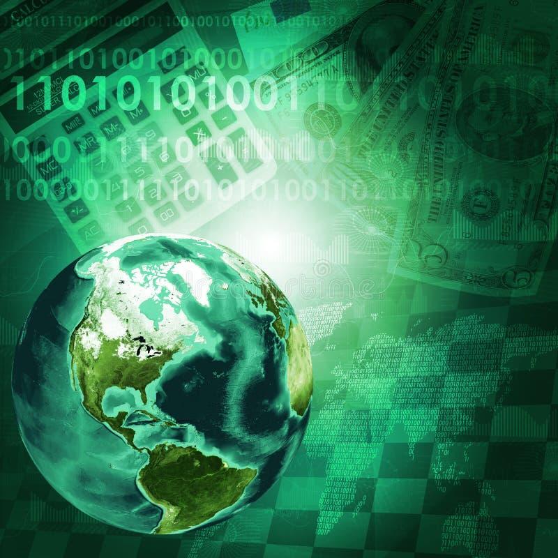 Terra, dígitos e teclado no fundo do dinheiro ilustração do vetor