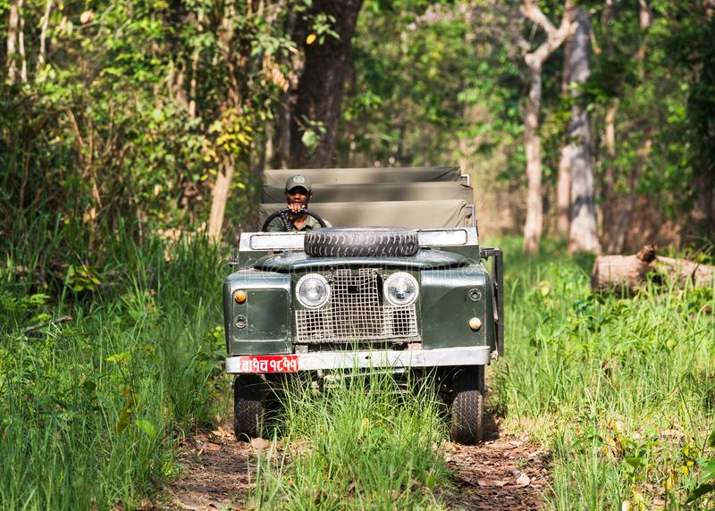Terra d'annata Rover Series II nella giungla di Chitwan, Nepal fotografie stock libere da diritti