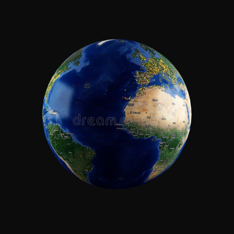 terra 3D (Oceano Atlântico) ilustração royalty free