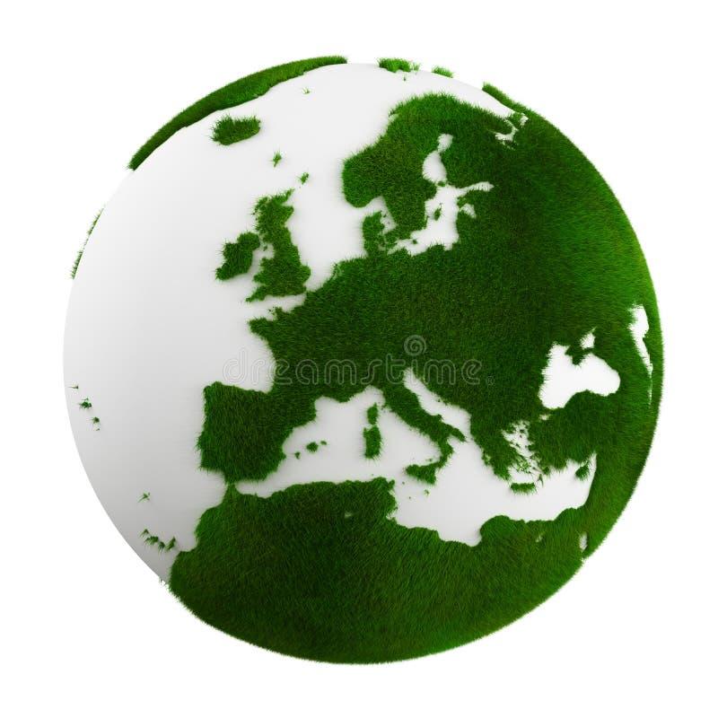 Terra da grama - fim de Europa acima ilustração stock