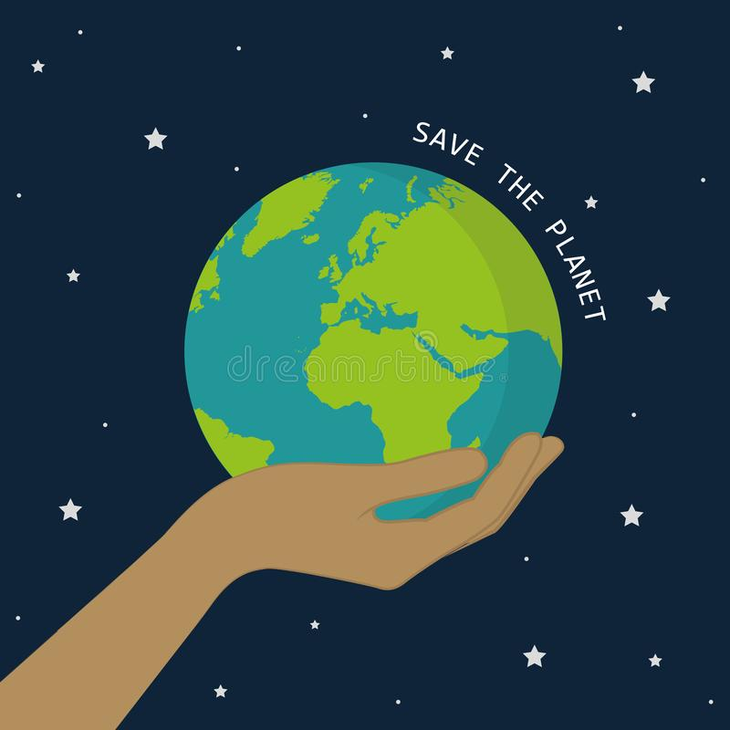 Terra da posse da mão no universo salvo o conceito do planeta ilustração stock