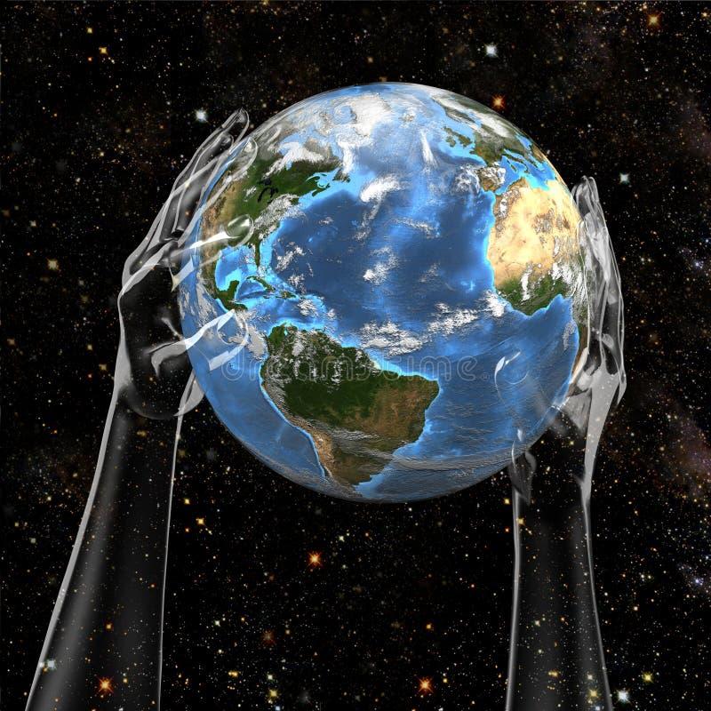 Terra da preensão das mãos no espaço ilustração stock