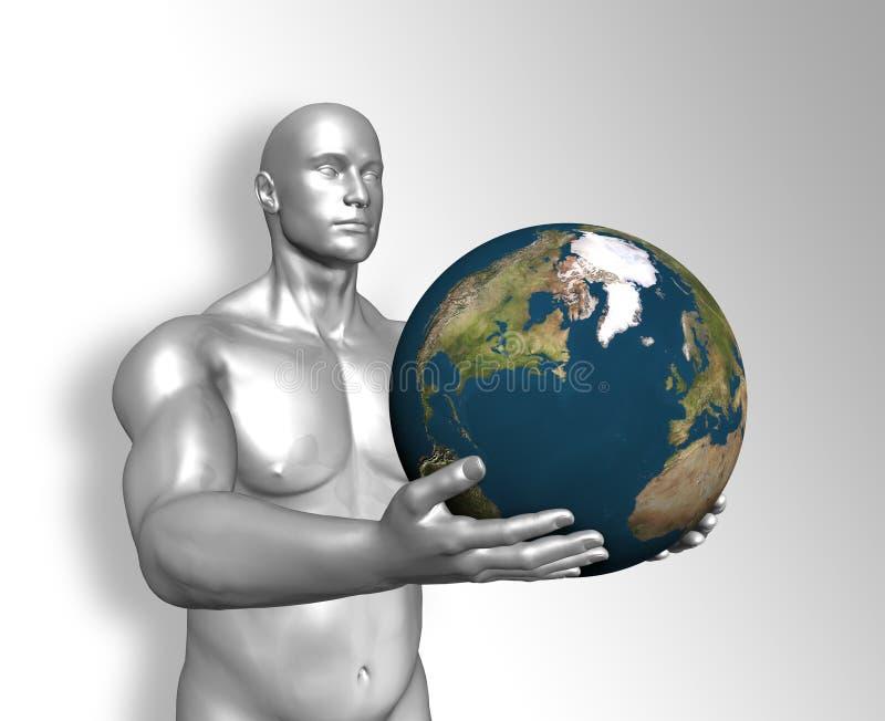 Terra da terra arrendada do homem ilustração royalty free
