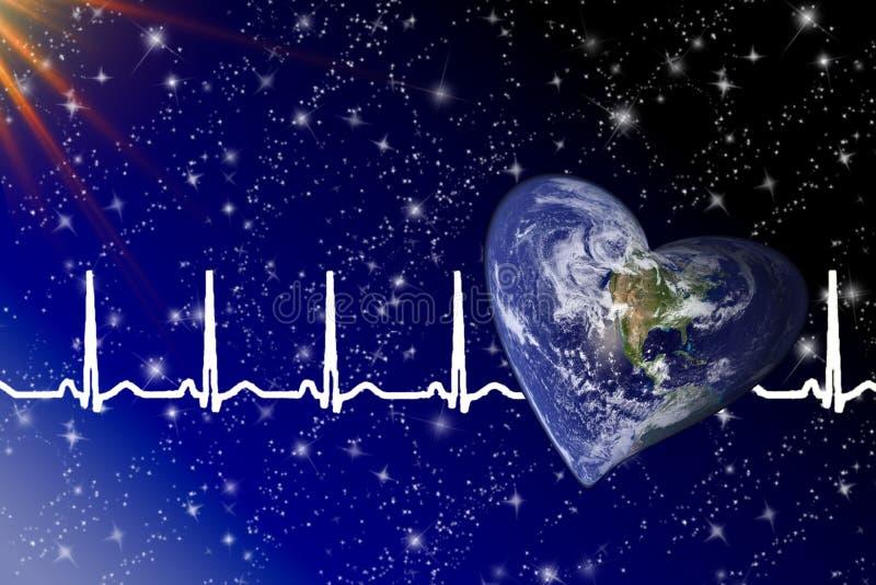 Terra dada forma coração do planeta no espaço fotos de stock