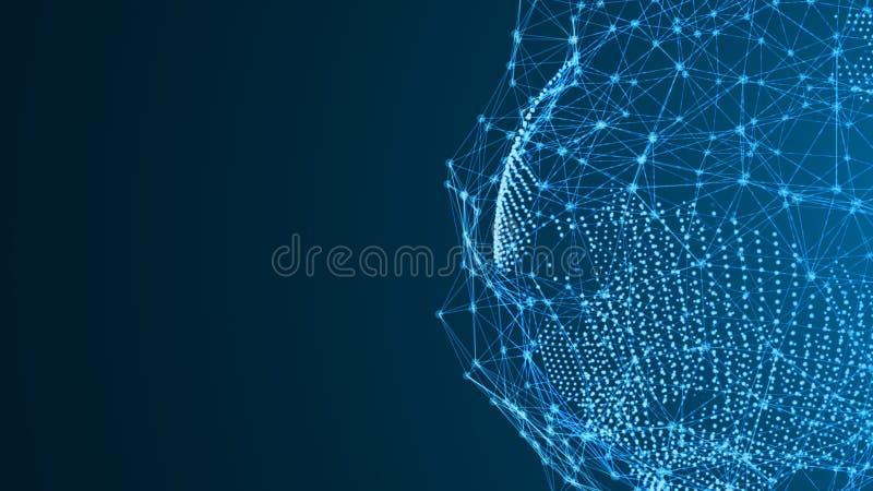 Terra dalle particelle con un collegamento astratto Una connessione di rete digitale illustrazione di stock