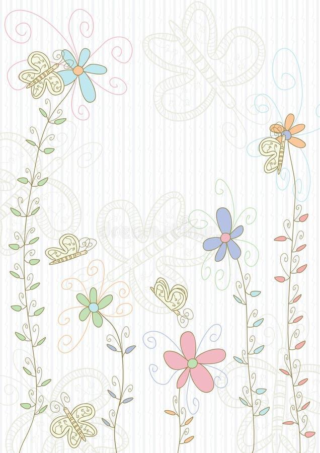 Terra das flores de borboletas ilustração royalty free