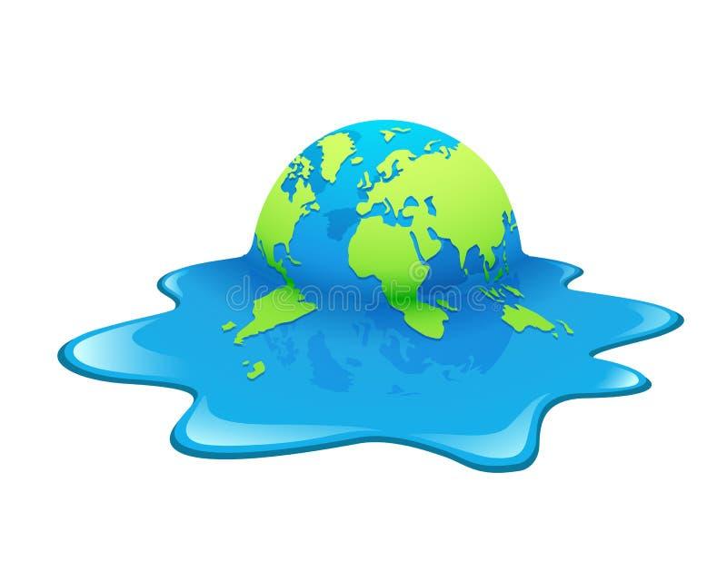 Terra de derretimento Aquecimento global do conceito, verde e azul ilustração stock