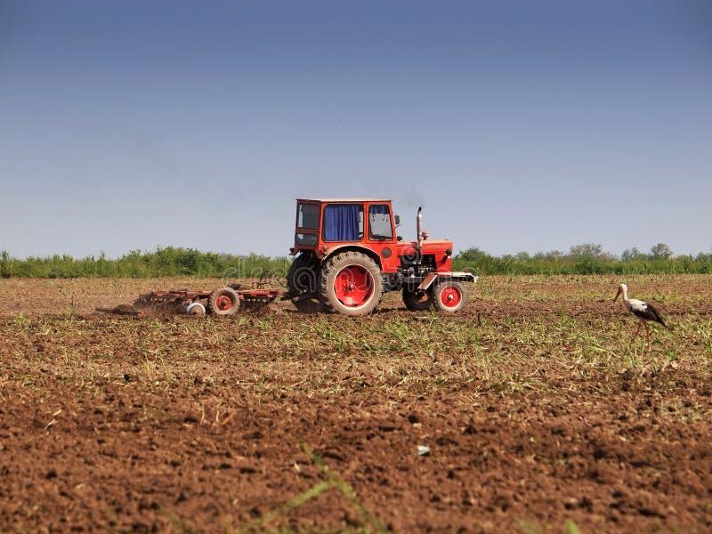 Terra de exploração agrícola do funcionamento do trator imagens de stock