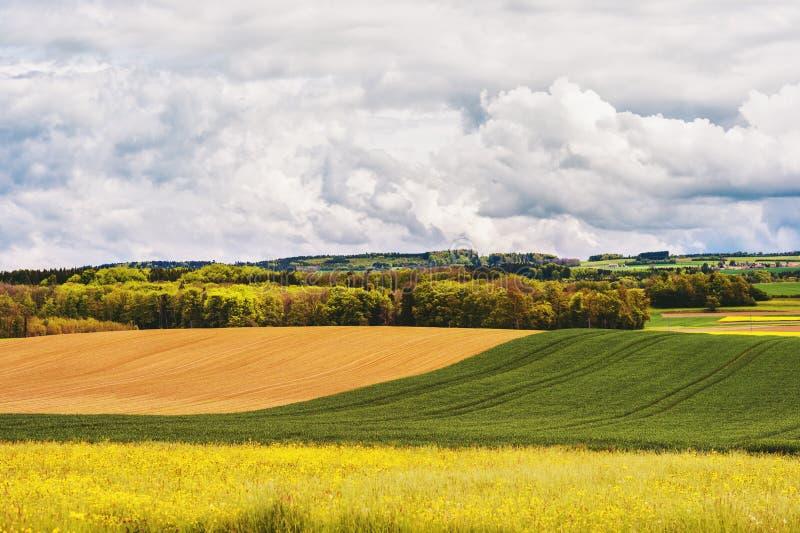 Terra de exploração agrícola na mola imagem de stock royalty free