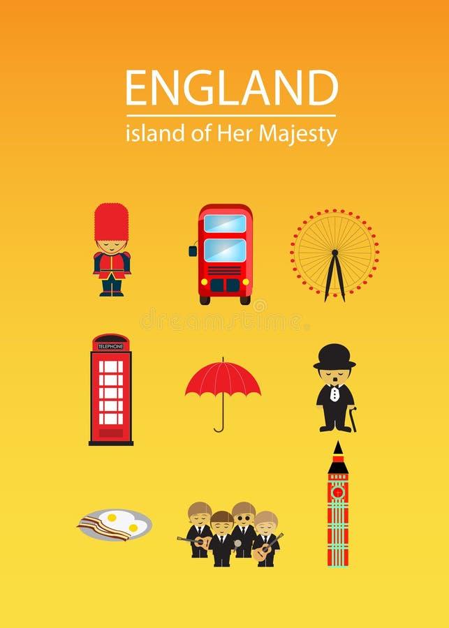 Terra de Inglaterra de sua majestade com lotes dos elementos ilustração do vetor