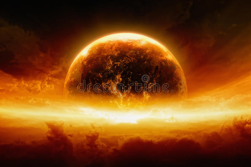 Terra de queimadura e de explosão do planeta imagens de stock