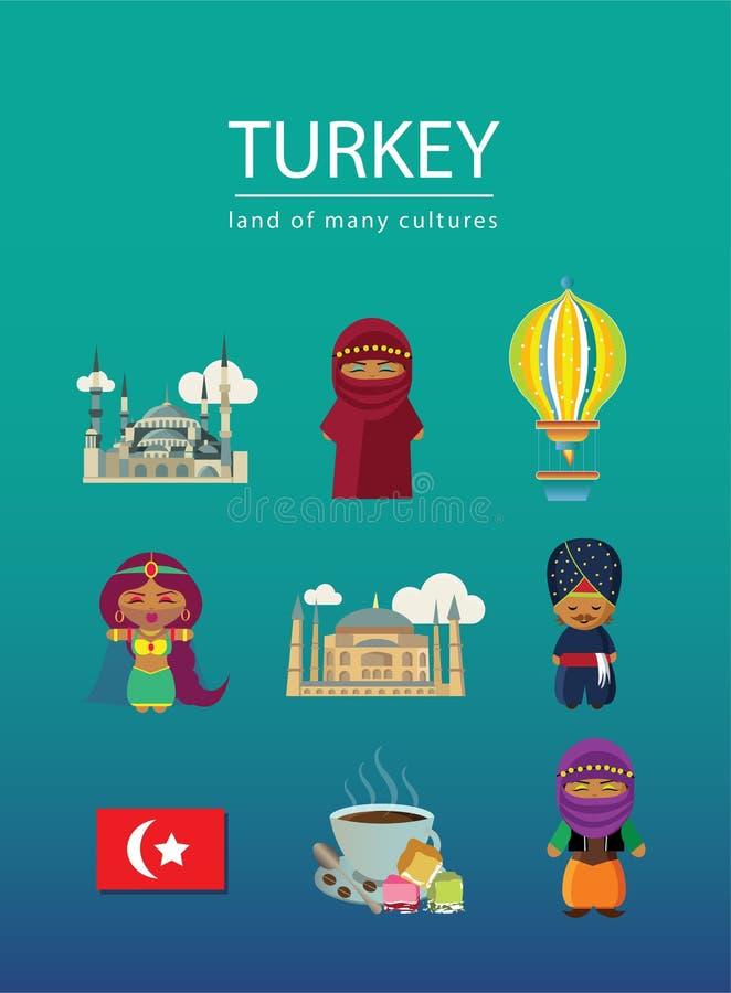 Terra de Turquia de muitas culturas com nove elementos ilustração royalty free