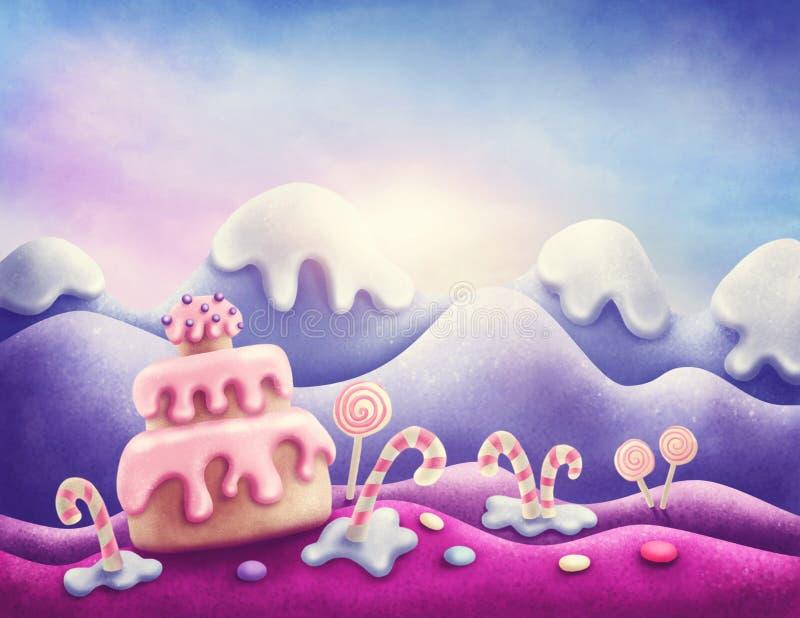 Terra del dolce di fantasia illustrazione vettoriale