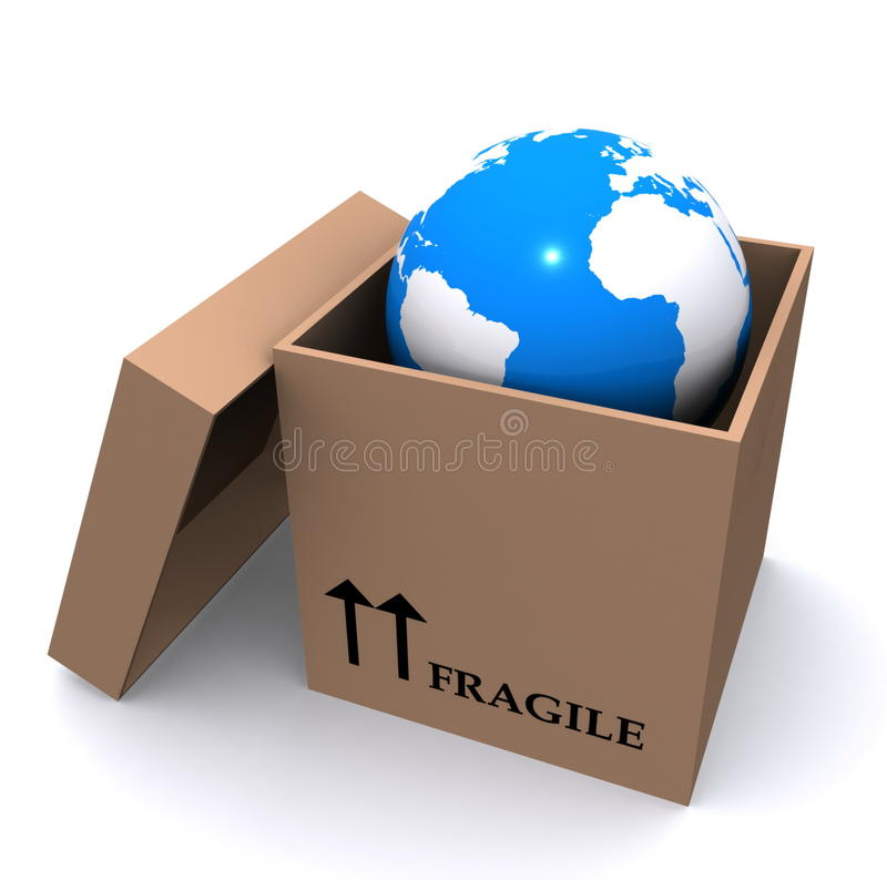 Terra del pianeta in casella illustrazione di stock