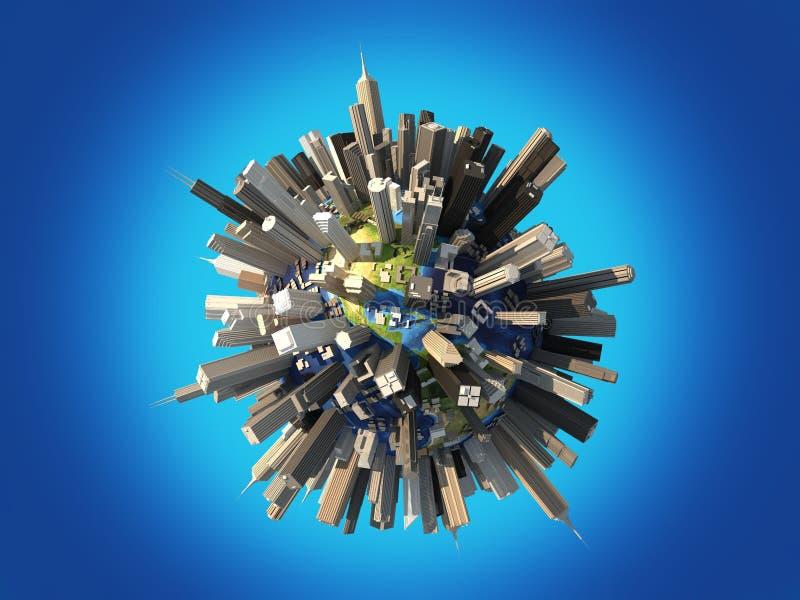 Terra del pianeta completamente coperta dai grattacieli enormi. royalty illustrazione gratis