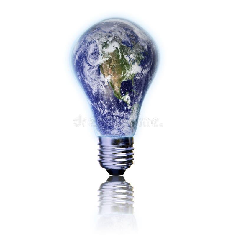 Terra del pianeta e della lampadina illustrazione di stock