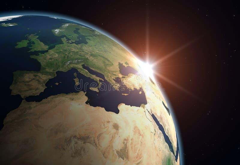Terra del pianeta - Europa illustrazione di stock