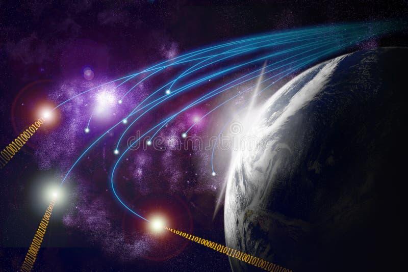 Terra del pianeta, fibre ottiche, transmiss di dati illustrazione di stock