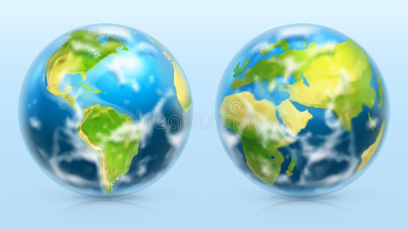 Terra del pianeta insieme dell'icona di vettore 3d illustrazione di stock