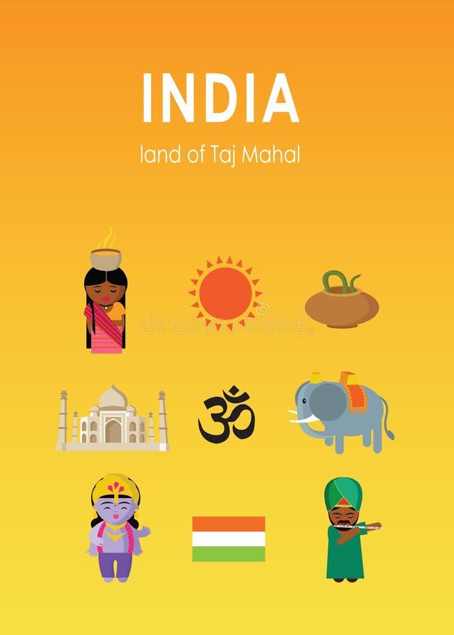 Terra dell'India del Taj Mahal con nove elementi royalty illustrazione gratis
