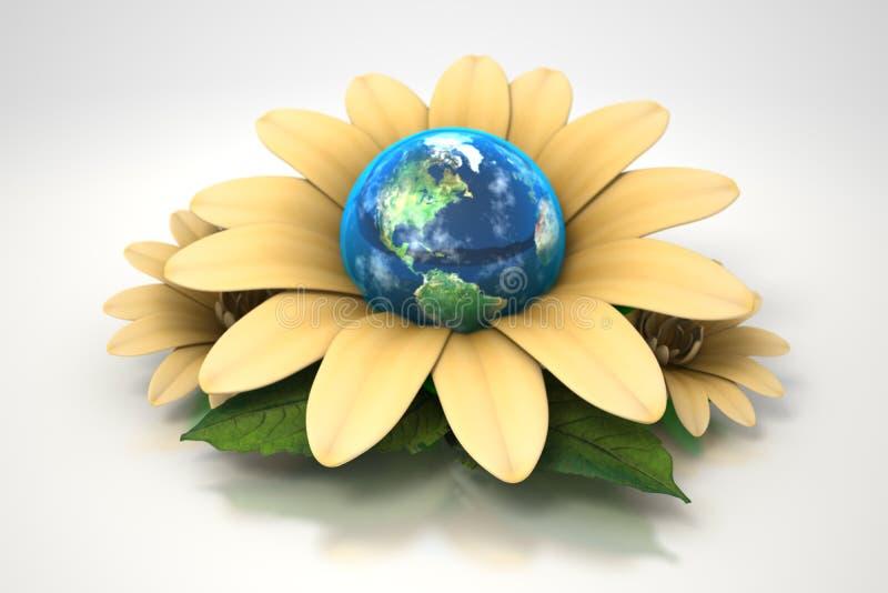 Terra dentro da flor amarela ilustração stock