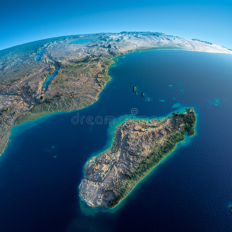 Terra detalhada. África e Madagáscar ilustração stock