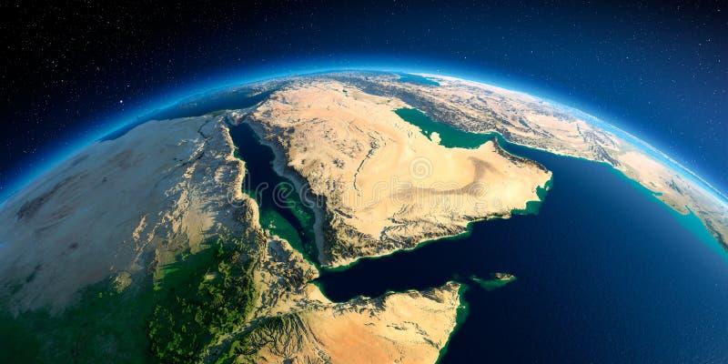 Terra detalhada Ar?bia Saudita ilustração royalty free