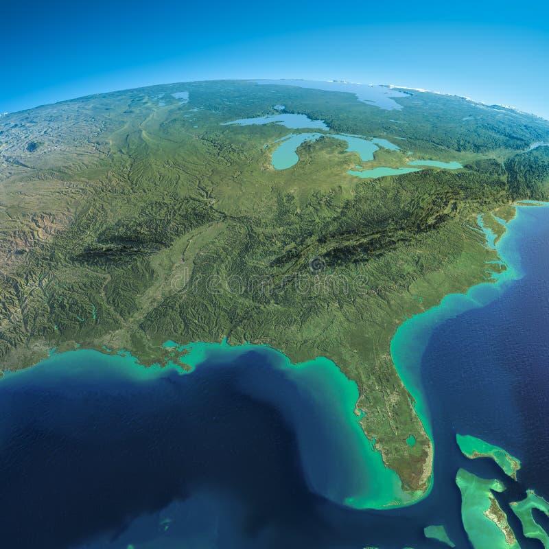 Terra detalhada. Golfo do México e Florida ilustração stock