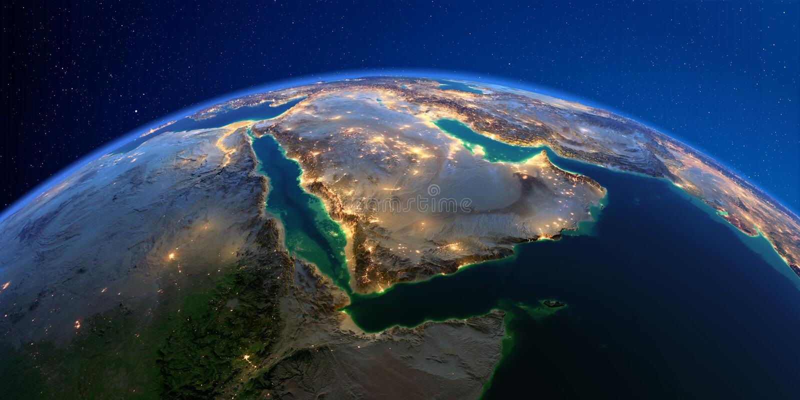 Terra detalhada na noite Ar?bia Saudita ilustração do vetor