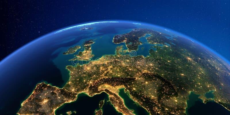 Terra detalhada na noite A Europa Central ilustração royalty free