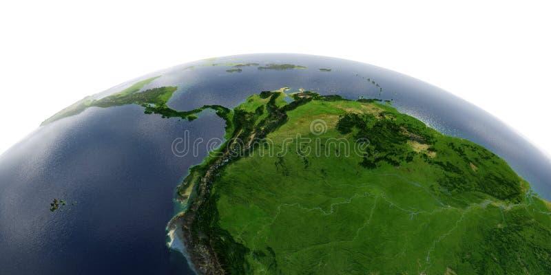 Terra detalhada no fundo branco ?frica e Europa A parte ocidental de ?m?rica do Sul Peru, Equador, Colômbia, Venezuela e ilustração stock