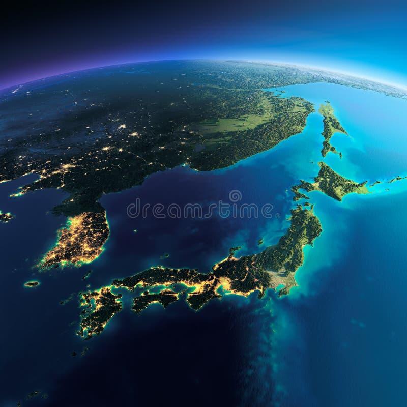 Terra dettagliata Il Giappone e la Corea illustrazione di stock