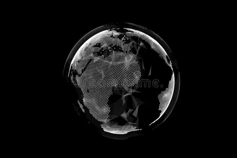 Terra di Digital costituita dai particals royalty illustrazione gratis