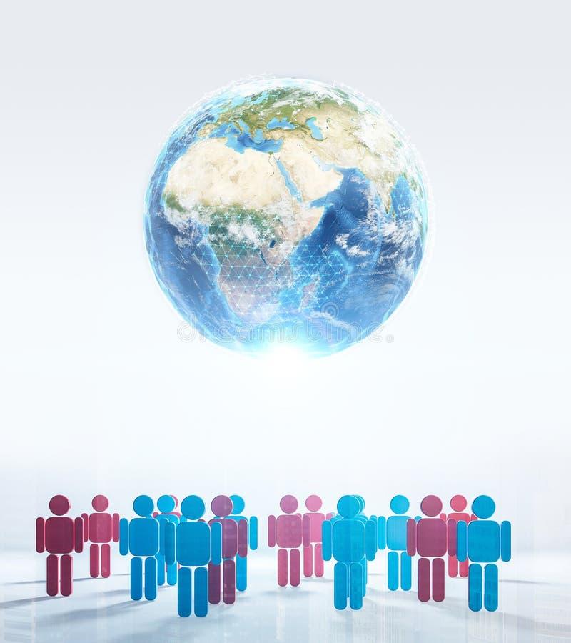 Terra di Digital, numeri binari, ciao tecnologia immagine stock libera da diritti