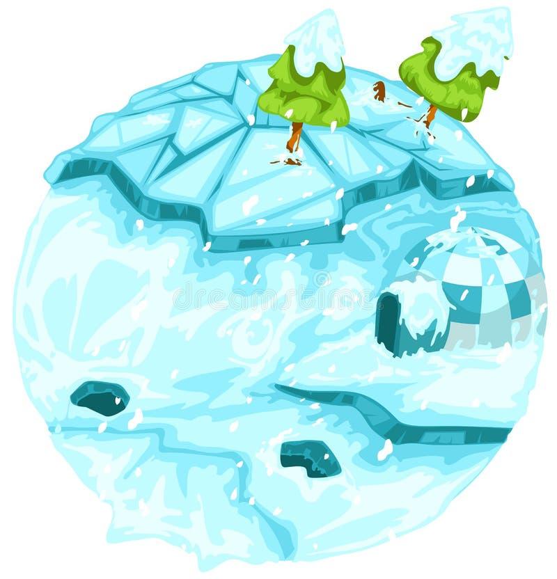 Terra di inverno con l'albero di Natale royalty illustrazione gratis