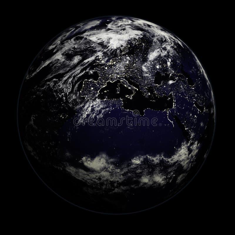 Terra di notte - Europa/Asia/Afri fotografia stock