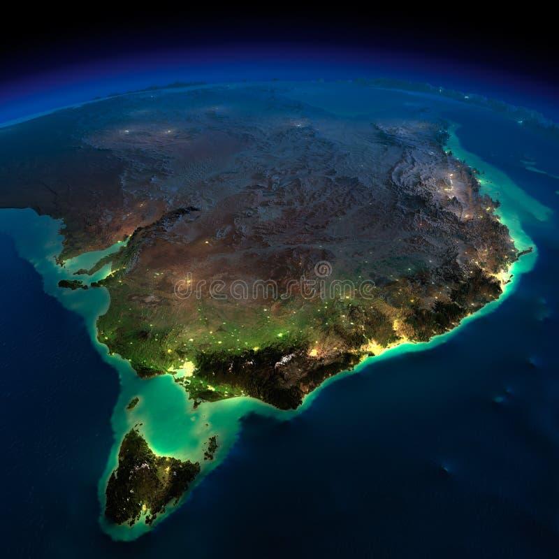 Terra di notte. Zona dell'Australia. La Tasmania illustrazione di stock