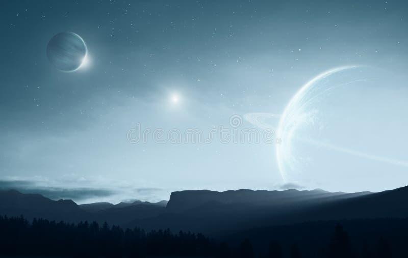 Terra distante illustrazione di stock