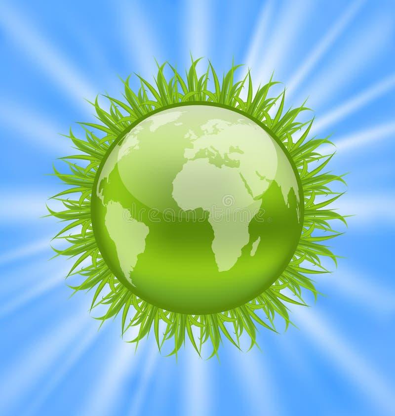 Terra do ícone com grama, símbolo do ambiente ilustração royalty free
