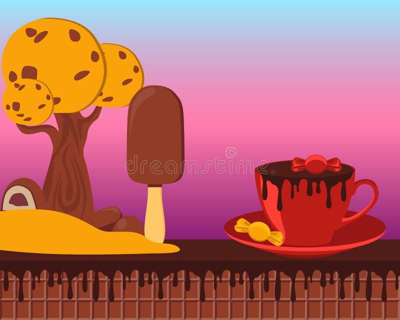 Terra do chocolate do conto de fadas ilustração do vetor