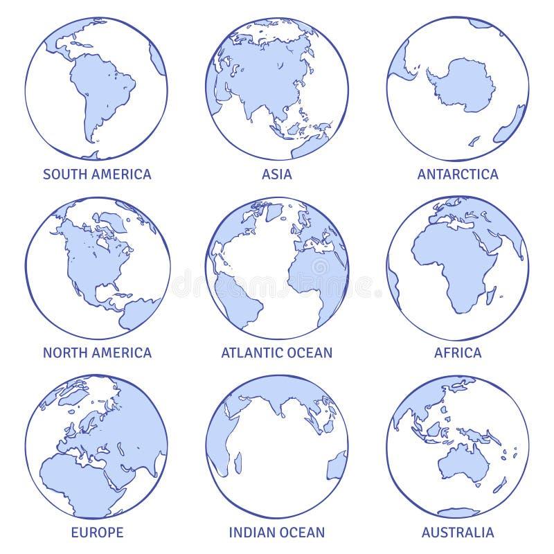 Terra do esboço O globo tirado mão do mundo do mapa, continentes do conceito do círculo da terra contorna oceanos do planeta ater ilustração stock